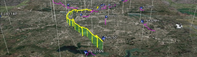 Dallas to London Flight Tracking Google Earth