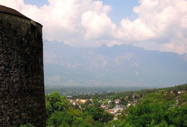 View of Vaduz, Liechtenstein facing Switzerland