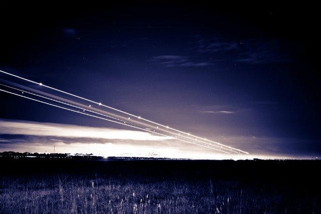 Plane Lights Landing at Night