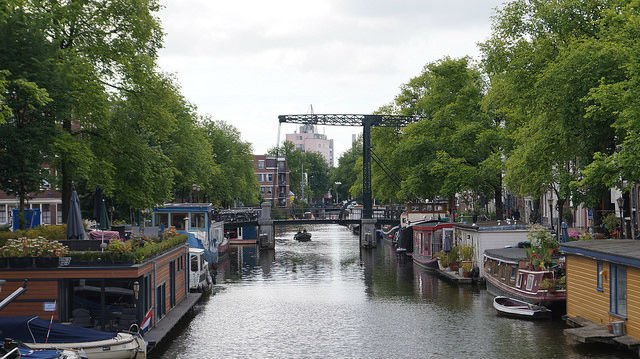 Amsterdam Netherlands - Canal with boats