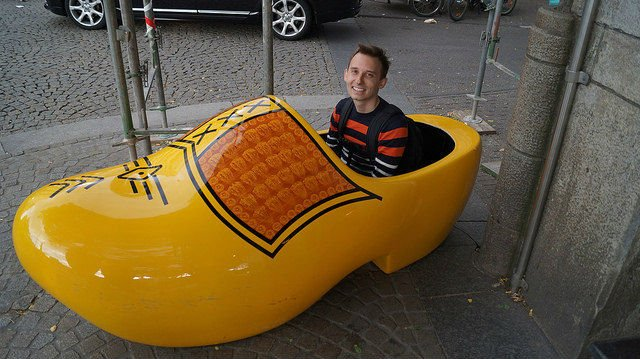 Amsterdam Netherlands - Shawn in a big wooden shoe