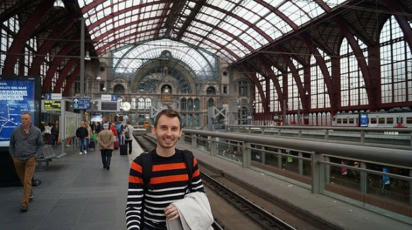 Bruges to Amsterdam Train - Shawn at Antwerp Train Station