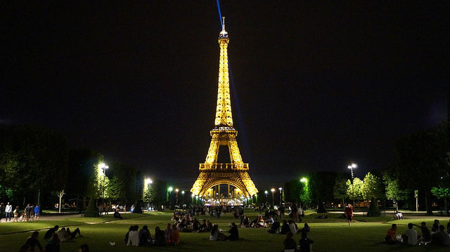 Paris France - Eiffel Tower at Night on the lawn