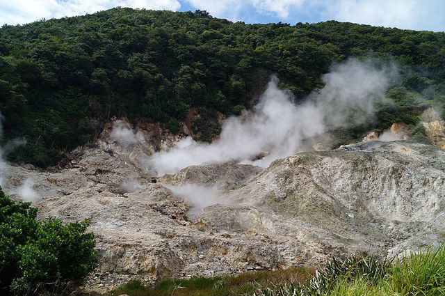 Exploring the Island of St. Lucia - Volcano smoke spewing