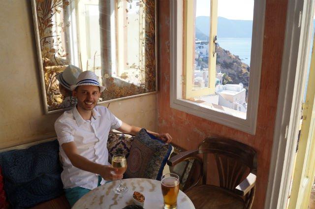 Stunning Santorini Greece - Drinking wine in Oia