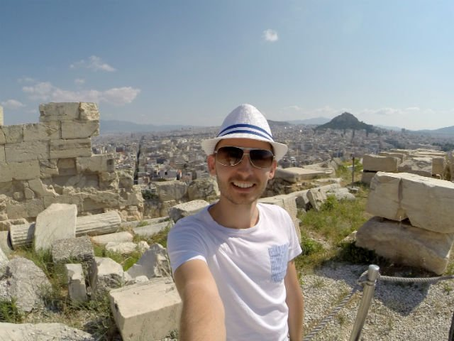 Sunday in Athens Greece - Shawn at the Acropolis