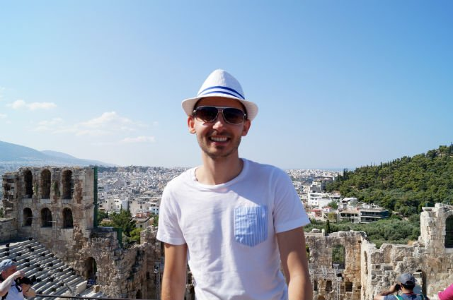 Sunday in Athens Greece - Shawn on the Acropolis