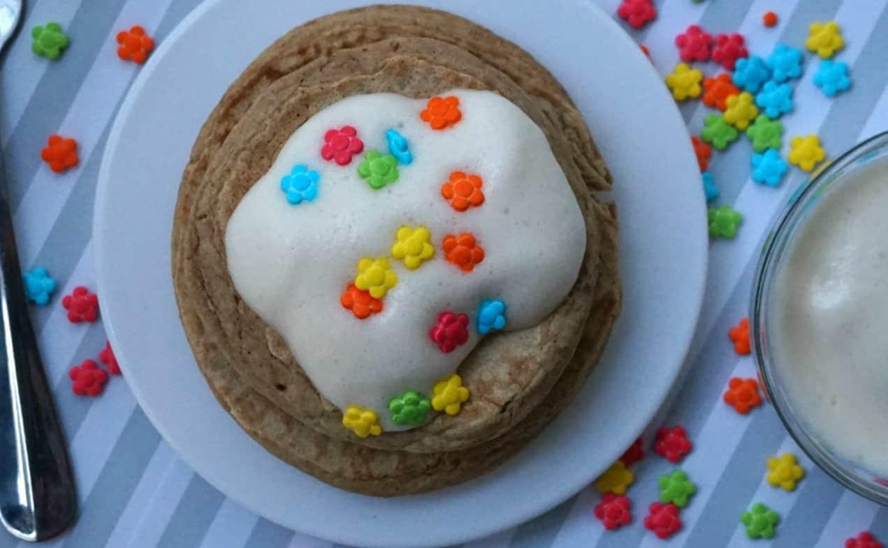 Blogoversary Birthday Cake Pancakes With Vanilla Whipped