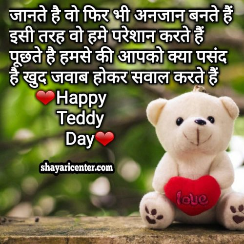gift for teddy day wite shayari