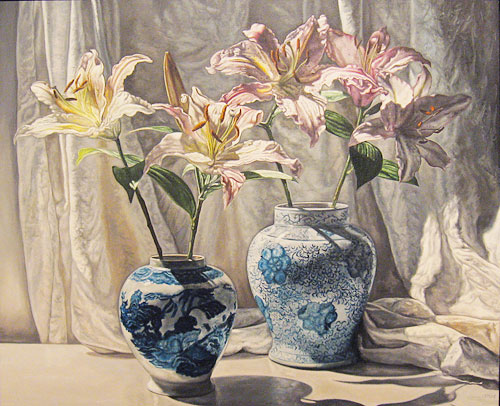 Lilies and Chinese Vases