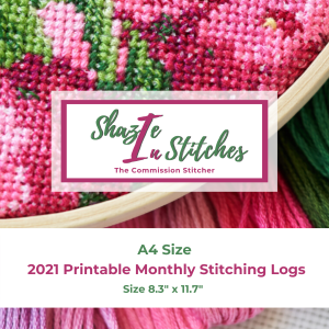A4 Size – 2021 Monthly Stitching Logs