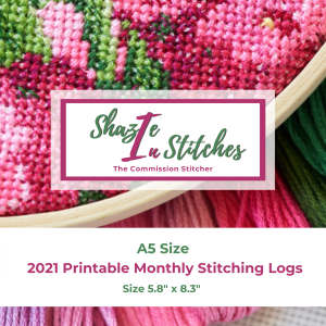 A5 Size – 2021 Monthly Stitching Logs