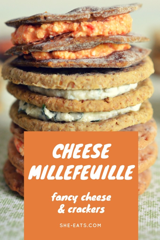 Cheese millefeuille / cheese canape / cheese and crackers / She-Eats.com