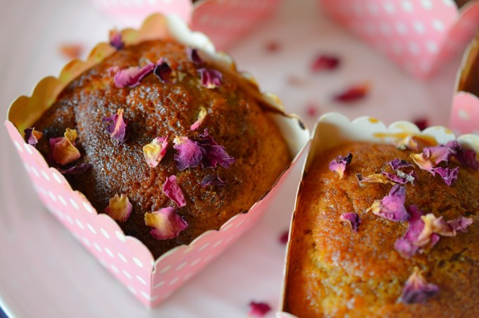 Two muffins / Rose, pistachio and cardamon muffins / SHE-EATS