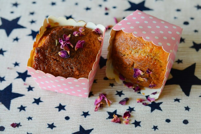 Two muffins one on its side / Rose, pistachio and cardamon muffins / SHE-EATS