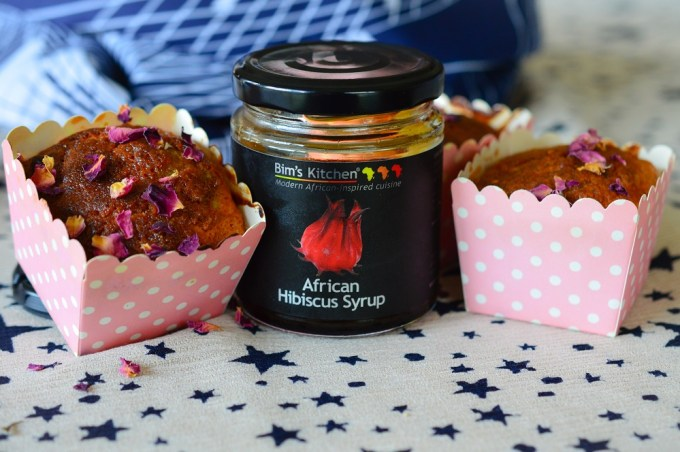 A jar of hibiscus syrup and two muffins / Rose, pistachio and cardamon muffins / SHE-EATS