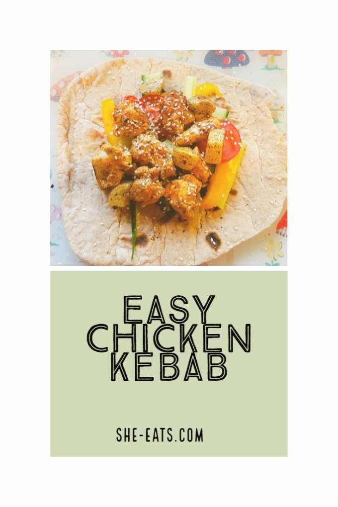 Pinterest image for easy chicken kebabs and She-Eats.com