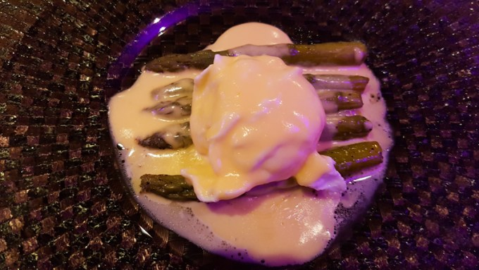 Asparagus, poached egg and sauce at The Grill in the Park, Worsley / SHE-EATS