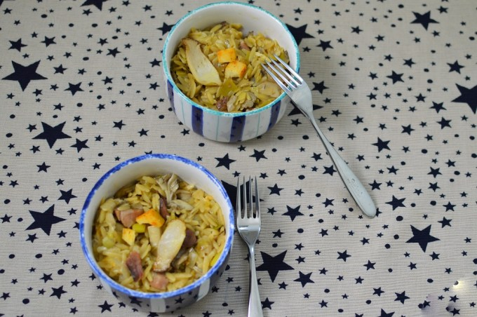 Two bowls of pasta / Smoky bacon and mushroom orzo risotto orzotto with Germanto / She-Eats.Com