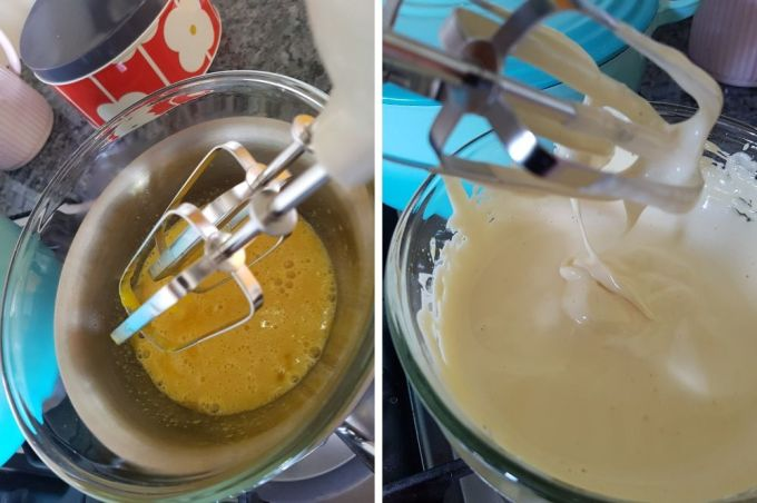 Images of eggs and sugar being whisked over a low heat