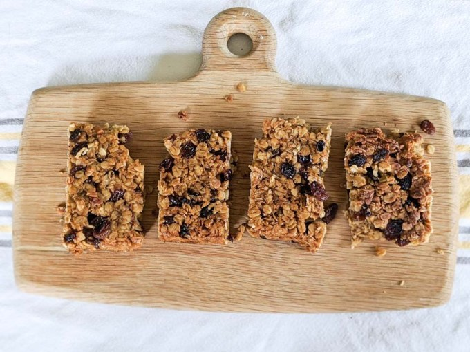 Raisin flapjacks in a line ready to eat
