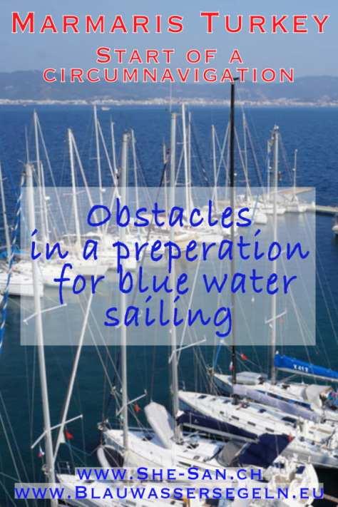 Preparation for blue water sailing - on board in Marmaris Turkey