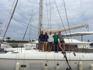 our swiss-austrian neighbor Erich with his crew start their atlantic passage to St. Lucia