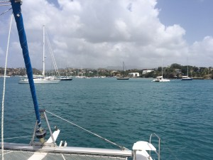 arriving in Prickly Bay