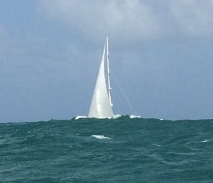 ... and a moment later we only see part of the sail...