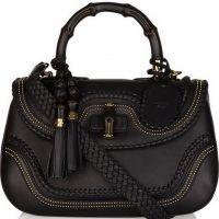 Gucci Bamboo  Black Leather Luxury Handbags