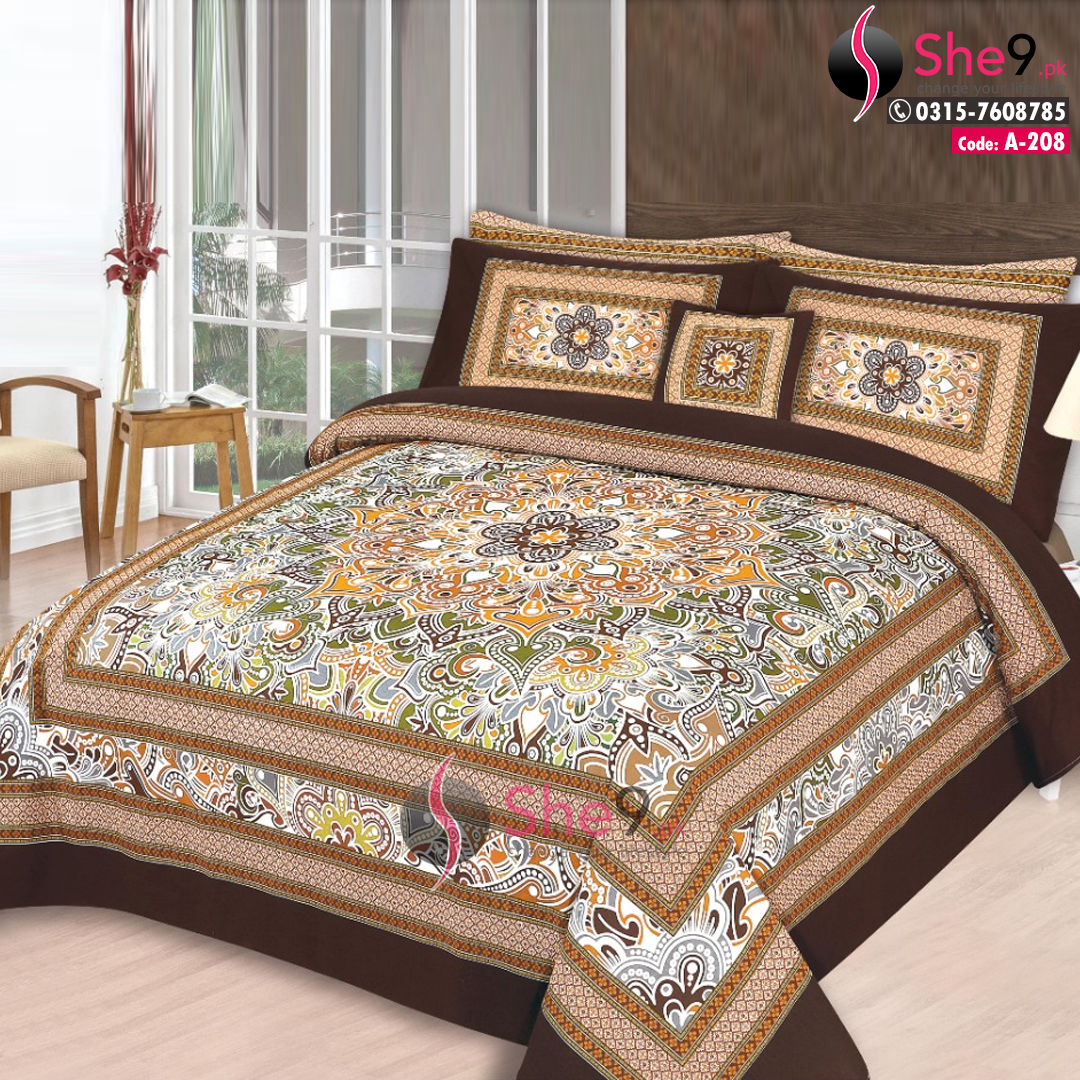 A 208 3d King Size Bedding Double Bed Sheet In Cotton She9 Pk