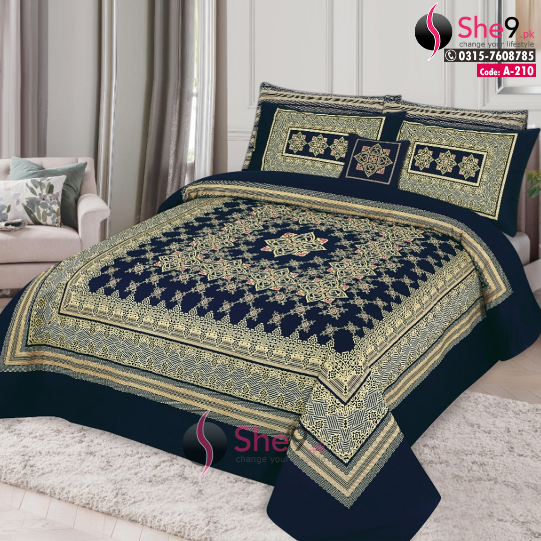 A 210 3d King Size Bedding Double Bed Sheet In Cotton She9 Pk