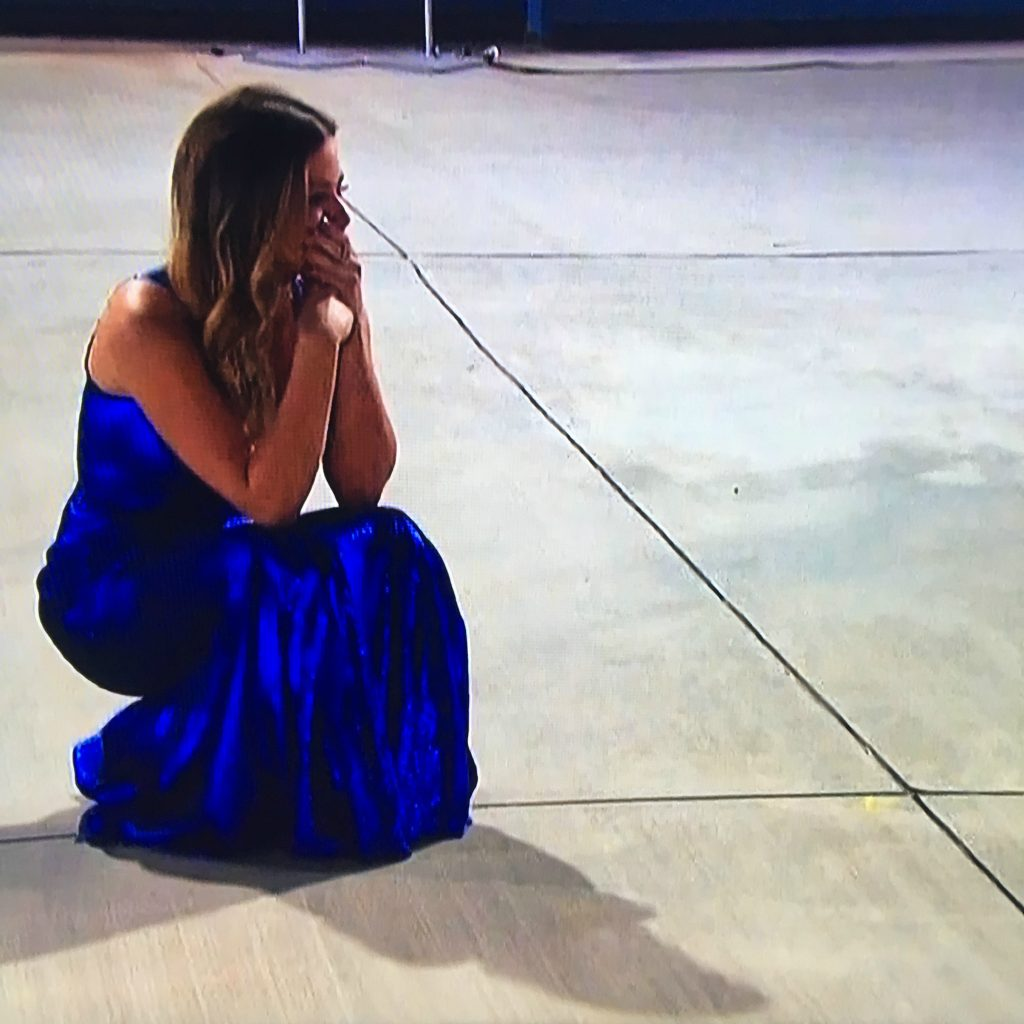 jojo in blue sequin dress