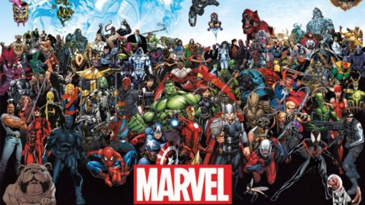 giant photo of all Marvel superheroes