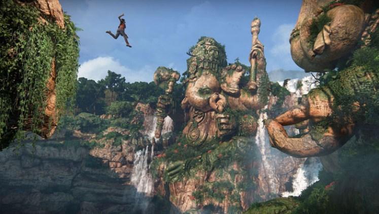 Chloe making a statue-climbing jump.