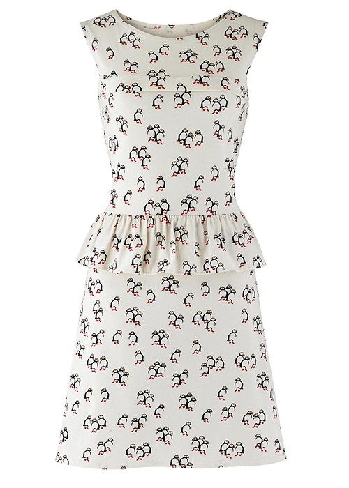 Puffin Print Joy Peplum Dress £40 from People Tree