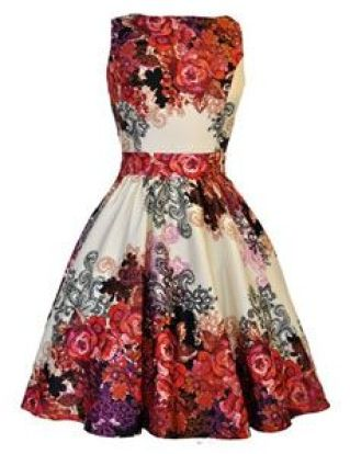 Red Rose Floral Collage on Cream Tea Dress £45 from Lady V