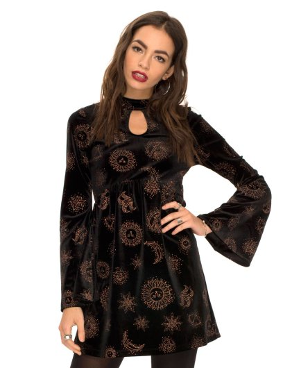 Kendal Babydoll Dress in Zodiac Glitter Velvet £38 by Motel