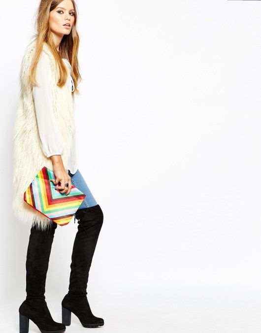 Clutch Bag in Rainbow Chevron Print | January Sales Accessories to Murder #17