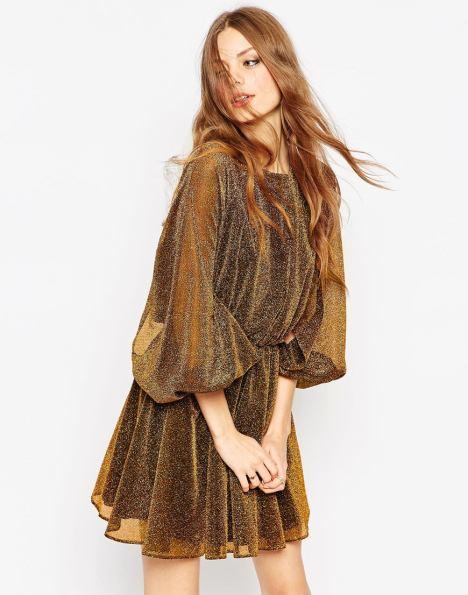 She and Hem   Double Thumbs Dresses #63   Glitter Blouson Sleeve Skater Dress £48 from ASOS