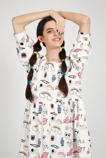 Button Cuff Angel Dress White Sushi Print £55 from THE WHITEPEPPER