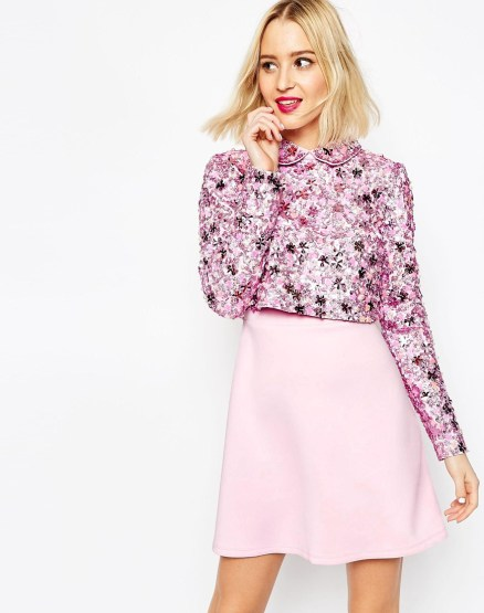 Embellished Collar Crop Top Skater Dress With Long Sleeves £95 from ASOS