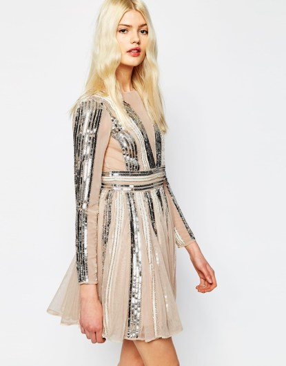Sequin Stripe Fit And Flare Mini Skater Dress £85.00 from ASOS Salon