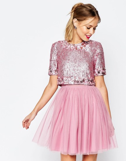 Crystal Crop Top Tutu Netted Mini Skater Dress £120.00 from ASOS Salon