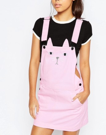 Pinafore Dungaree Dress With Cat Face £70 from Lazy Oaf at ASOS