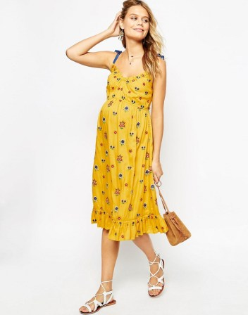 Double Thumbs Dresses #80 | Midi Dress with Floral Embroidery £42 from ASOS Maternity