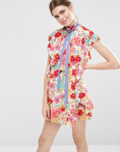 She and Hem | Floral Ruffle Mini Shift Dress With Neck Tie £52 from ASOS