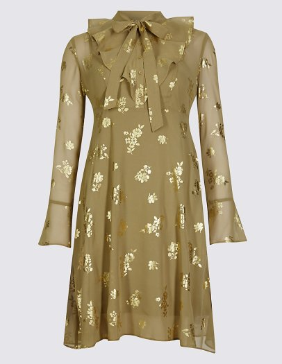 Floral Print Long Sleeve Shift Dress