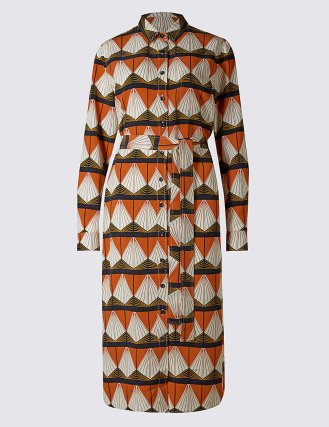 Geometric Print Shirt Dress with Belt £35 from M&S