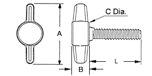 Tee Thumbscrew Dimensions